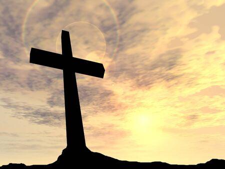 jezus: Koncepcyjne czarny krzyż symbol religii lub sylwetka w krajobraz rocka na tle zachodu słońca Zdjęcie Seryjne