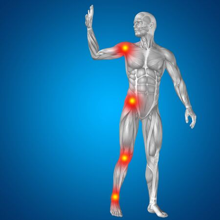 shoulder inflammation: Conceptual 3D human man anatomy joint pain body on blue background Stock Photo
