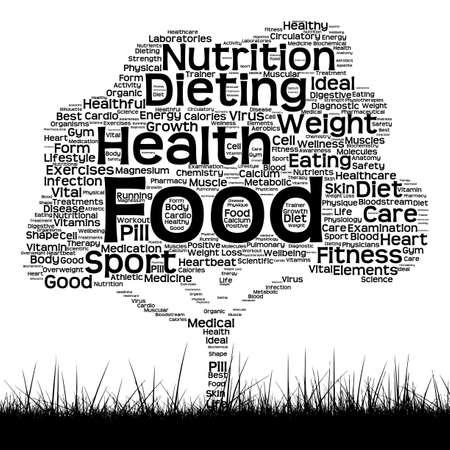 Concepto o nube negra conceptual de la palabra del texto de la salud como árbol y hierba aislados en el fondo blanco