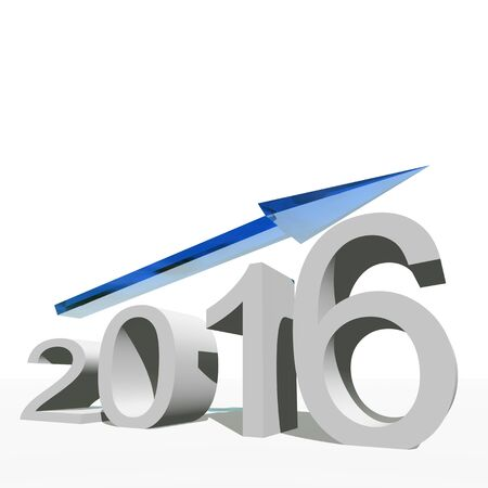 profit celebration: Conceptual 3D blue 2016 year symbol with an arrow isolated on white background