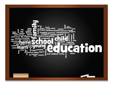 love strategy: Vector concept or conceptual education abstract word cloud, blackboard and chalk background