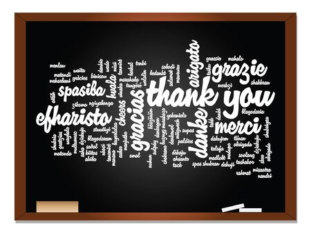 multilingual: Vector conceptual blackboard thank you word cloud, different languages or multilingual for education or thanksgiving day Illustration