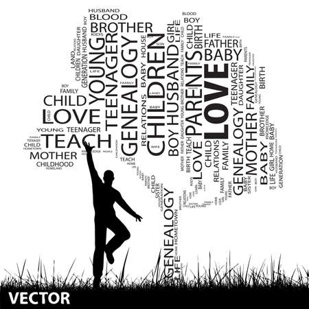 love strategy: Vector concept or conceptual black education text word cloud or tagcloud as tree and grass, a man jumping, isolated on white background Illustration