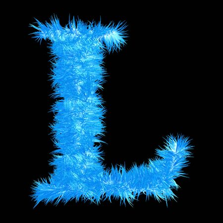 frost: Conceptual 3D blue frost or ice font part of set or collection isolated on black background for winter Stock Photo