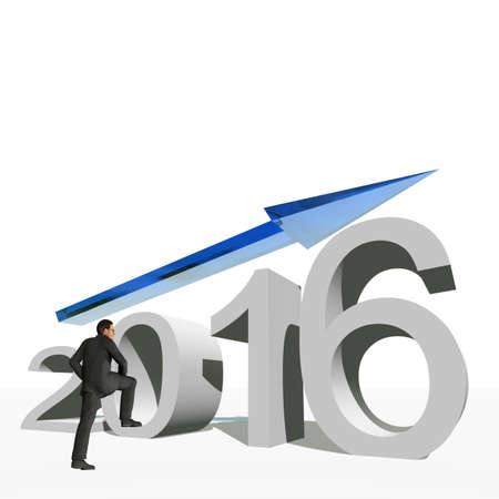 holiday profits: Conceptual 3D human,man or businessman standing over an blue 2016 year symbol with an arrow isolated on white background