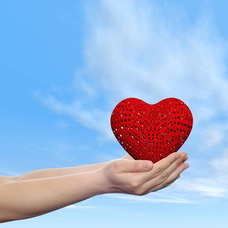 Concept or conceptual human hand with heart and blue sky background