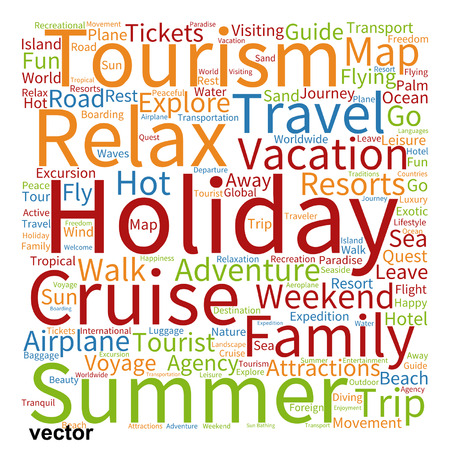 away travel: Vector conceptual travel or tourism word cloud isolated on background