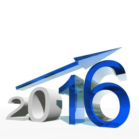 year increase: Conceptual 3D blue 2016 year symbol with an arrow isolated on white background