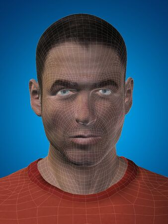 human face: Concept or conceptual 3D wireframe young human male or man face or head on blue background