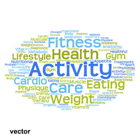 dieting: Vector conceptual health or diet word cloud concept isolated on background Illustration
