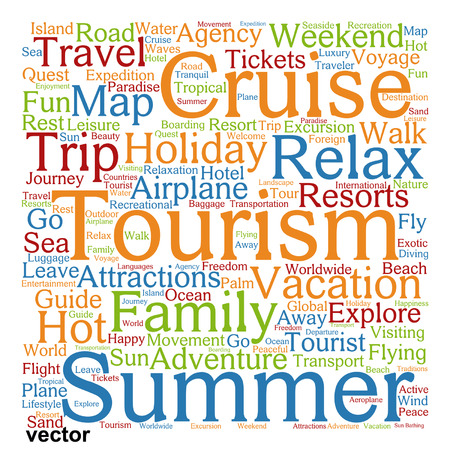 quest: Vector conceptual travel or tourism word cloud isolated on background