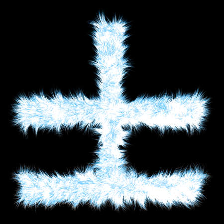 ice font: Conceptual 3D blue frost or ice font part of set or collection isolated on black background for winter Stock Photo