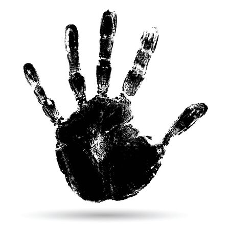palm of hand: Concept or conceptual cute black paint human hand or handprint of child isolated on white background