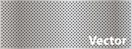 Vector concept conceptual gray metal stainless steel aluminum perforated pattern texture mesh background banner