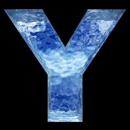ice font: Conceptual 3D blue water or ice font part of set or collection isolated on black background for winter