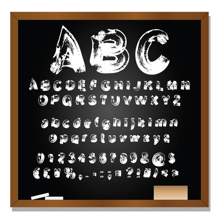 wooden board: Conceptual set or collection of white handwritten, sketch or scribble fonts isolated on blackboard background Stock Photo