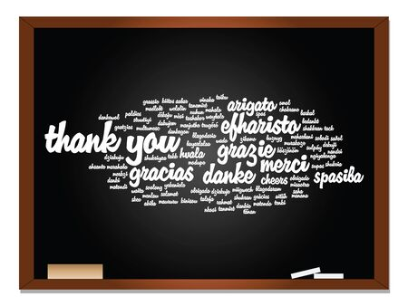 multilingual: Conceptual blackboard thank you word cloud, different languages or multilingual for education or thanksgiving day