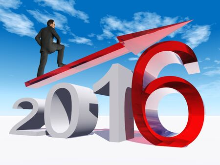 year increase: Conceptual 3D  human,man or businessman standing over an red 2016 year symbol with an arrow on blue sky background