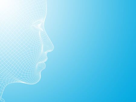 Concept or conceptual 3D wireframe young human female or woman face or head on white and blue background