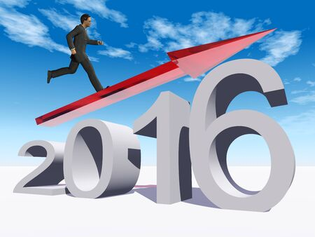 holiday profits: Conceptual 3D  human,man or businessman standing over an red 2016 year symbol with an arrow on blue sky background