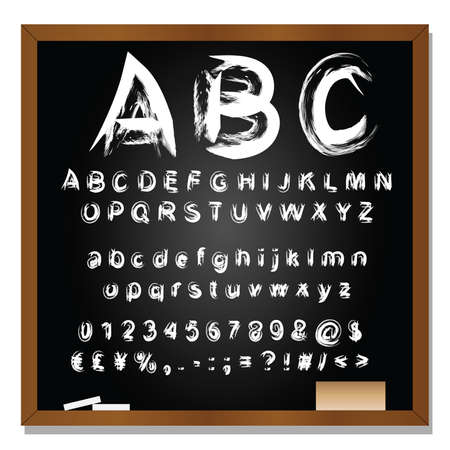 blackboard background: Vector conceptual set or collection of white handwritten, sketch or scribble fonts isolated on blackboard background