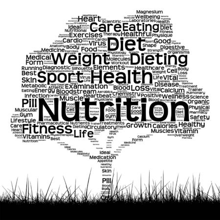 physique: Vector concept or conceptual black health text word cloud as tree and grass isolated on white background