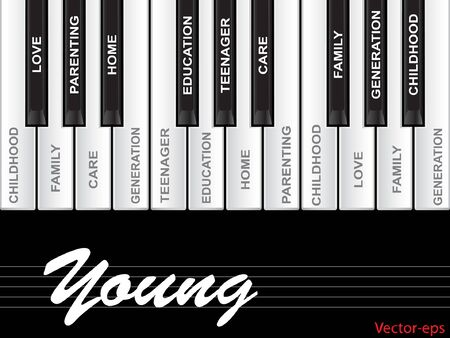 tagcloud: Vector eps concept or conceptual white text word cloud or tagcloud as piano keys isolated on black background Illustration