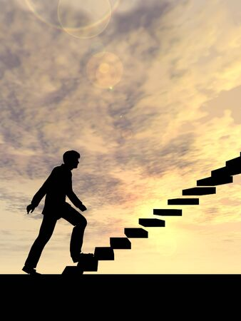 ascend: Concept or conceptual 3D male businessman on stair or steps over sunset sky background