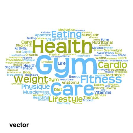 physique: Vector conceptual health or diet word cloud concept isolated on background Illustration