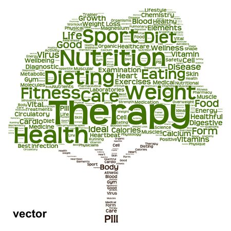 nutrition health: Conceptual health diet or nutrition tree word cloud isolated on background