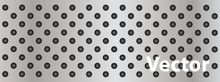 perforation: Vector concept conceptual gray metal stainless steel aluminum perforated pattern texture mesh background banner