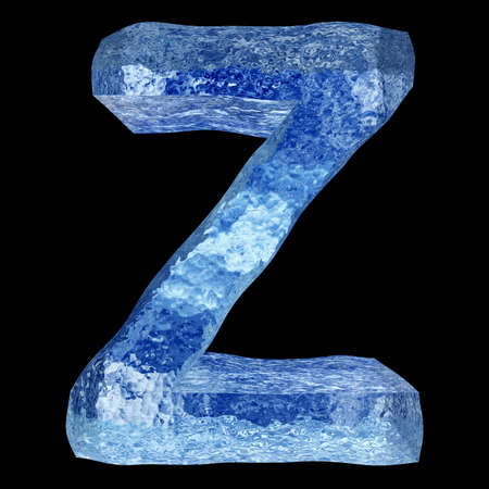 icy: Conceptual 3D blue water or ice font part of set or collection isolated on black background for winter