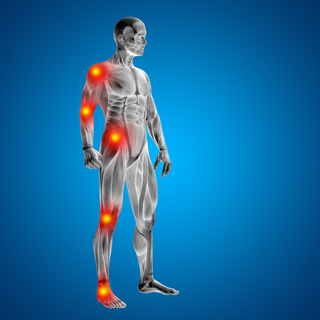 Conceptual 3D human man anatomy joint pain body on blue background Stockfoto