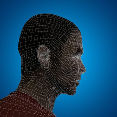 futuristic man: Concept or conceptual 3D wireframe young human male or man face or head on blue background
