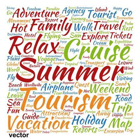 Vector de viajes o turismo palabra conceptual nube aislada en el fondo