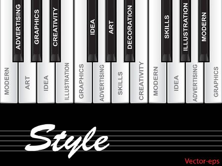 key words art: Vector eps concept or conceptual white text word cloud tagcloud as piano keys isolated on white background
