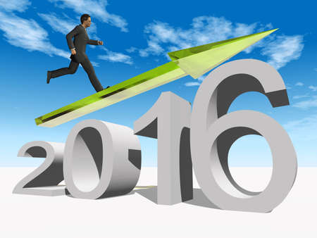 holiday profits: Conceptual 3D  human,man or businessman standing over an green 2016 year symbol with an arrow on blue sky background