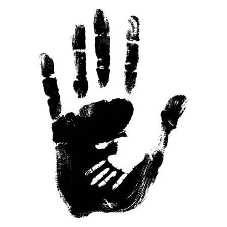 conceptual cute: Concept or conceptual cute black paint hand of mother child handprint isolated on white background