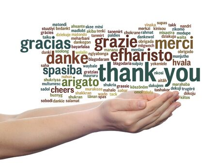 multilingual: Conceptual thank you multilingual word cloud in hands isolated on background