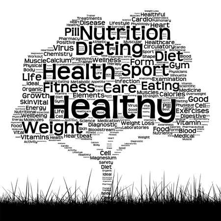 consonance: Vector concept or conceptual black health text word cloud as tree and grass isolated on white background
