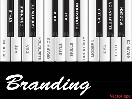 tagcloud: Vector eps concept or conceptual white text word cloud tagcloud as piano keys isolated on white background