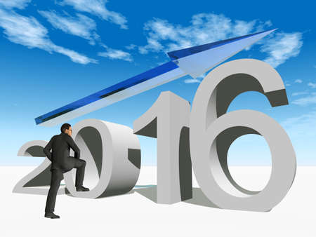 year increase: Conceptual 3D human man businessman standing over an blue 2016 year symbol with an arrow on blue sky