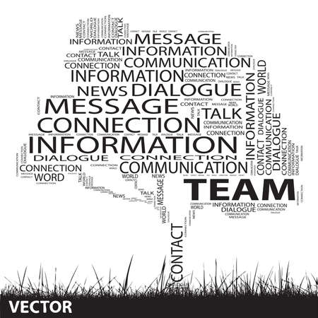 announcing: Conceptual communication tree word cloud grass background Illustration