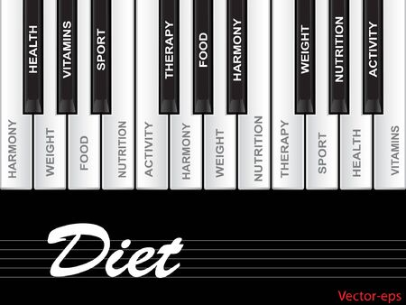 physique: Vector eps concept or conceptual white text word cloud tagcloud as piano keys isolated on white background