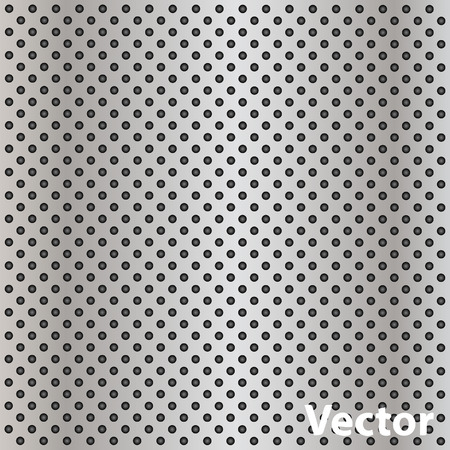 polished netting: Vector concept conceptual gray metal stainless steel aluminum perforated pattern texture mesh background