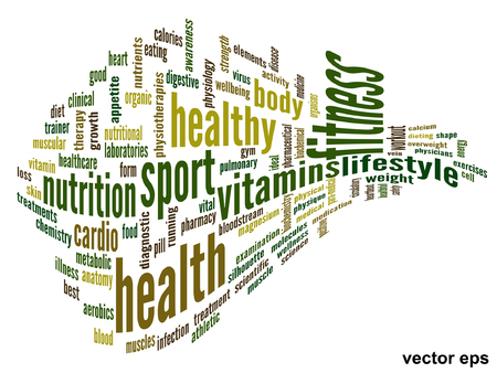 physique: Conceptual abstract word cloud on white background as metaphor for, fitness, medical, sport Illustration