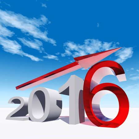 profit celebration: Conceptual 3D red 2016 year symbol with an arrow on blue sky background