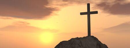 religion catolica: Concepto o conceptual forma de cruz s�mbolo de la religi�n sobre el cielo del atardecer con nubes bandera