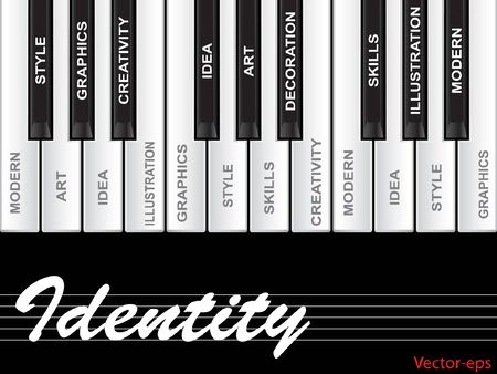 tagcloud: Vector concept or conceptual white text word cloud tagcloud as piano keys isolated on white background Illustration
