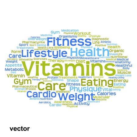 consonance: Vector conceptual health or diet word cloud concept isolated on background Illustration